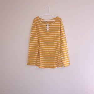 Yellow&White Striped Tie Up Girls Shirt 🤩!